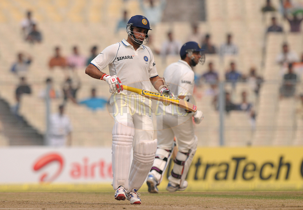 VVS Laxman of India bats during the 2nd day of the 2nd test match between India and The West Indies held at Eden gardens in Kolkata, India on the 15th November 2011..Photo by Pal Pillai/BCCI/SPORTZPICS