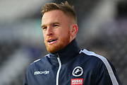 Millwall defender Alex Pearce (15) in the warm up during the EFL Sky Bet Championship match between Derby County and Millwall at the Pride Park, Derby, England on 14 December 2019.
