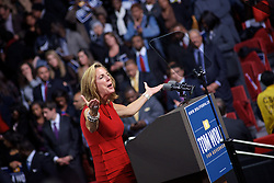 Philadelphia, PA, USA - November 2, 2014: Kathleen McGinty cheers up the crowds gathered in support of PA Gubernatorial candidate Tom Wolf. (Photo by Bas Slabbers)<br /> <br /> U.S. President Barrack Obama headlines the Grassroots event in support of PA Gubernatorial Democratic candidate Tom Wolf. Wolf is running against Incumbent Governor of Pennsylvania Tom Corbett (R). The event is held at Liacouras Center at Temple University in North Philadelphia two days ahead of election day.<br /> <br /> Get an editorial licensing for this image at iStock: http://www.istockphoto.com/photo/obama-headlines-tom-wolf-rally-in-philadelphia-50900480