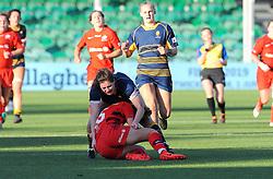 Megan Varley of Worcester Valkyries tackles Rosie Galligan of Saracens Women- Mandatory by-line: Nizaam Jones/JMP - 01/12/2018 - RUGBY - Sixways Stadium - Worcester, England - Worcester Valkyries v Saracen Women- Tyrrells Premier 15s