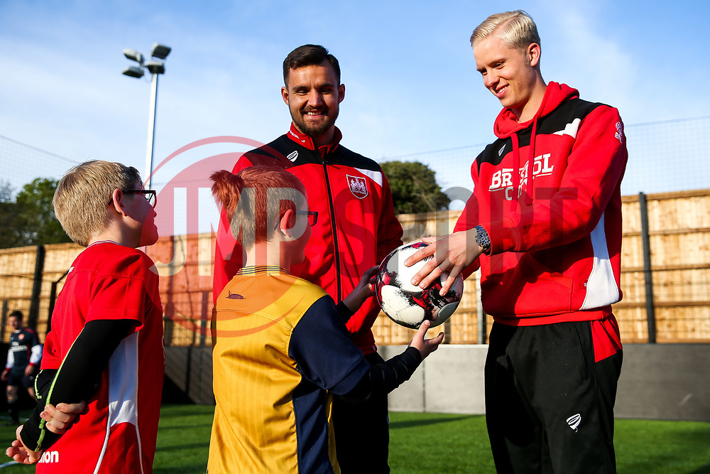 Hordur Magnusson and Bailey Wright of Bristol City attend the Bristol City Community Trust Disability Football Session on the EFL Day of Action 2017 - Rogan Thomson/JMP - 25/04/2017 - FOOTBALL - South Bristol Sports Centre - Bristol, England.