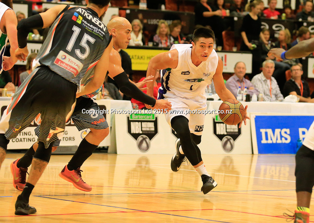 Ranger's Rueben Te Rangi with the ball. NBL basketball, Hawkes Bay Hawks  v Super City Rangers, PG Arena, Napier, New Zealand. Saturday, 18 April, 2015. Copyright photo: John Cowpland / www.photosport.co.nz