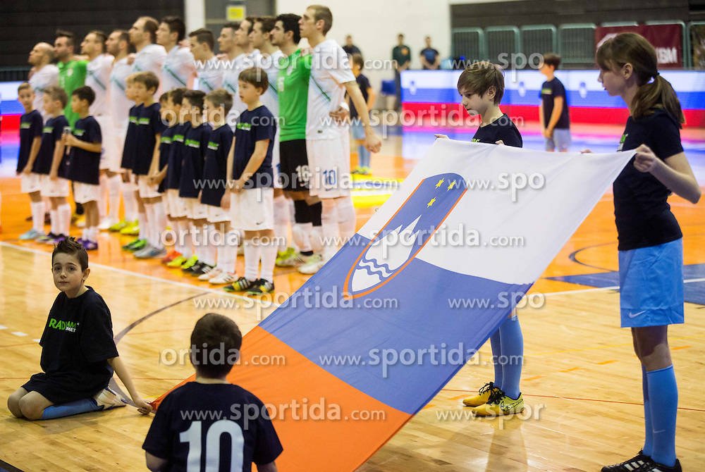 Slovenian flag during futsal match between National teams of Slovenia and Spain in Play off of FIFA Futsal World Cup Colombia 2016 Qualifications, on March 22, 2016 in Arena Tabor, Maribor, Slovenia. Photo by Vid Ponikvar / Sportida