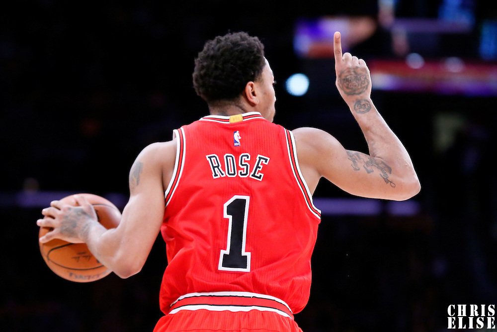 29 January 2015: Chicago Bulls guard Derrick Rose (1) brings the ball up court during the Los Angeles Lakers 123-118 2OT victory over the Chicago Bulls, at the Staples Center, Los Angeles, California, USA.