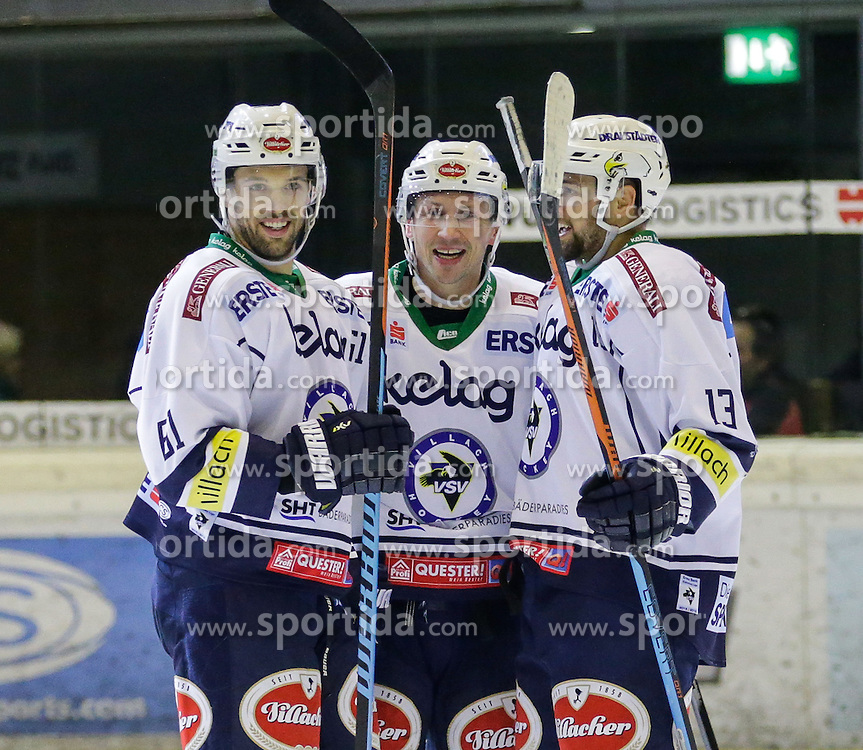 26.12.2015, Messestadion, Dornbirn, AUT, EBEL, Dornbirner Eishockey Club vs EC VSV, 35. Runde, im Bild Jubel bei EC VSV // during the Erste Bank Icehockey League 35th round match between Dornbirner Eishockey Club and EC VSV at the Messestadion in Dornbirn, Austria on 2015/12/26, EXPA Pictures © 2015, PhotoCredit: EXPA/ Peter Rinderer