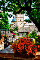 """Panoramic view from the Bar Giardino San Lorenzo of the Cathedral of San Rufino of Assisi""..."