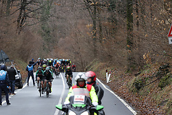 Elisa Longo-Borghini (ITA) of Wiggle Hi5 Cycling Team and Alena Amialiusik (BLR) of CANYON//SRAM Racing lead the race in the first short lap of the Trofeo Alfredo Binda - a 131,1 km road race, between Taino and Cittiglio on March 18, 2018, in Varese, Italy. (Photo by Balint Hamvas/Velofocus.com)