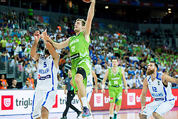 Yannis Bourousis of Greece vs Zoran Dragic of Slovenia during basketball match between Slovenia vs Greece at Day 5 in Group C of FIBA Europe Eurobasket 2015, on September 9, 2015, in Arena Zagreb, Croatia. Photo by Vid Ponikvar / Sportida