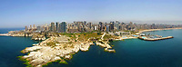 Aerial panoramic photo of Beirut city showing Rouche rock and the corniche. <br />
