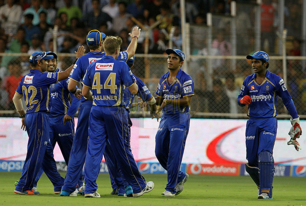 Rajasthan Royals players celebrates after taking the wicket of Robin Uthappa of the Kolkata Knight Riders during match 25 of the Pepsi Indian Premier League Season 2014 between the Rajasthan Royals and the Kolkata Knight Riders held at the Sardar Patel Stadium, Ahmedabad, India on the 5th May  2014<br /> <br /> Photo by Vipin Pawar / IPL / SPORTZPICS      <br /> <br /> <br /> <br /> Image use subject to terms and conditions which can be found here:  http://sportzpics.photoshelter.com/gallery/Pepsi-IPL-Image-terms-and-conditions/G00004VW1IVJ.gB0/C0000TScjhBM6ikg