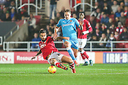 Wolverhampton Wanderers David Edwards is challenged by Bristol City's Marlon Pack during the Sky Bet Championship match between Bristol City and Wolverhampton Wanderers at Ashton Gate, Bristol, England on 3 November 2015. Photo by Shane Healey.