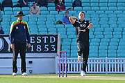 Tom Curran (Surrey) bowling during the Royal London 1 Day Cup match between Surrey County Cricket Club and Kent County Cricket Club at the Kia Oval, Kennington, United Kingdom on 12 May 2017. Photo by Jon Bromley.