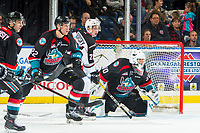 KELOWNA, CANADA - OCTOBER 3:  Lukas Svejkovsky #28 of the Vancouver Giants looks for the pass between Braydyn Chizen #22 and Roman Basran #30 of the Kelowna Rockets on October 3, 2018 at Prospera Place in Kelowna, British Columbia, Canada.  (Photo by Marissa Baecker/Shoot the Breeze)  *** Local Caption ***