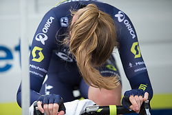 Jenelle Crooks (AUS) of Orica Scott Cycling Team warms up for the prologue of the Ladies Tour of Norway - a 3.4 km time trial, starting and finishing in Halden on August 17, 2017, in Ostfold, Norway. (Photo by Balint Hamvas/Velofocus.com)