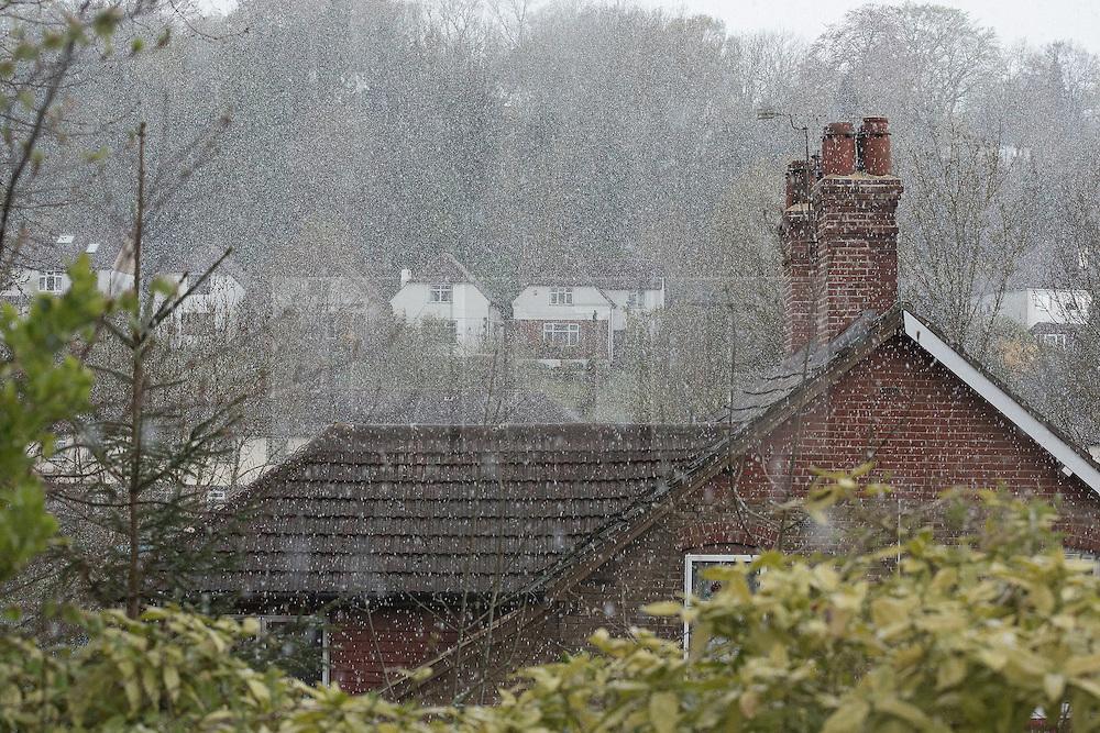 © Licensed to London News Pictures. 26/04/2016. , UK. Unseasonal April snow falls in Caterham, Surrey, today (26/04/2016). Photo credit: Matt Cetti-Roberts/LNP