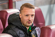 Leigh Griffiths (#9) of Celtic FC sits on the bench before the Ladbrokes Scottish Premiership match between Heart of Midlothian FC and Celtic FC at Tynecastle Park, Edinburgh, Scotland on 18 December 2019.