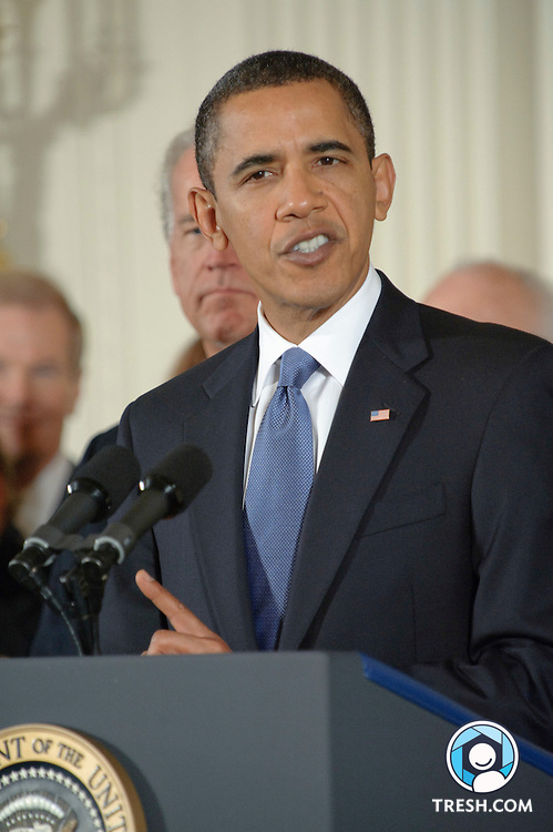 President Barack Obama makes remarks prior to signing the Fiscal Year 2010 National Defense Authorization Act, which includes the Matthew Shepard and James Byrd Jr. Hate Crimes Prevention Act, in the East Room of the White House, Wednesday, October 28, 2009.