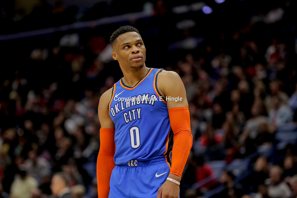 Dec 12, 2018; New Orleans, LA, USA; Oklahoma City Thunder guard Russell Westbrook (0) against the New Orleans Pelicans during the second half at the Smoothie King Center. Mandatory Credit: Derick E. Hingle-USA TODAY Sports