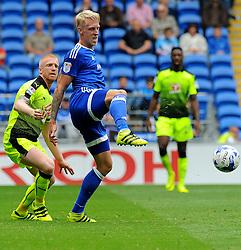 Lex Immers of Cardiff City is put under pressure from Paul McShane of Reading  - Mandatory by-line: Nizaam Jones/JMP - 27/08/2016 -  FOOTBALL - Cardiff City Stadium - Cardiff, Wales -  Cardiff City v Reading - Sky Bet Championship