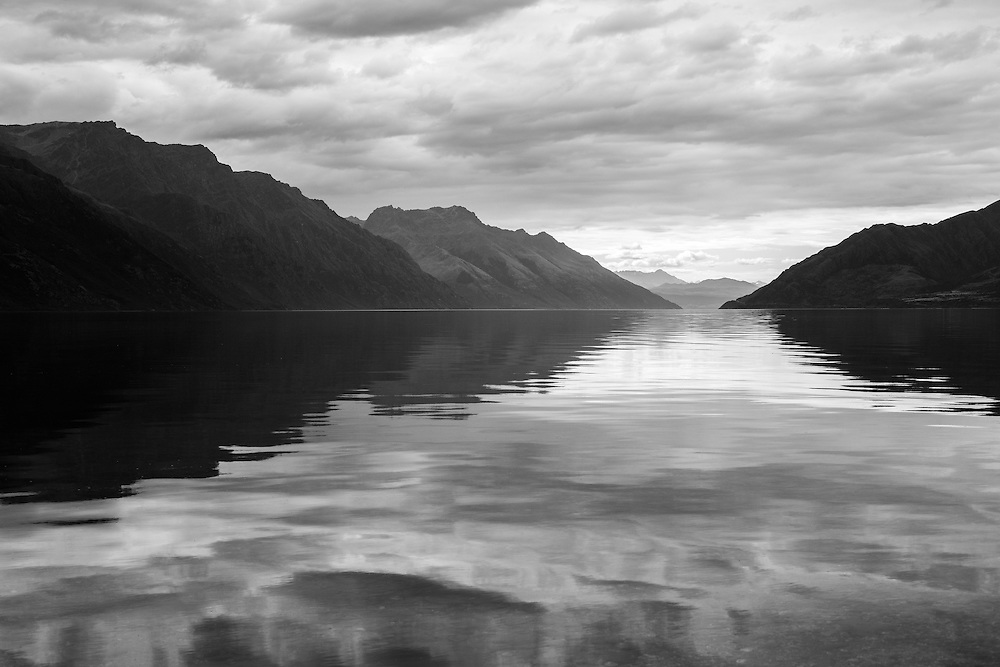 Black and White of Lake Wakatipu, Queenstown-Lakes District, Otago Region, South Island, New Zealand