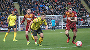 Matt Taylor (Chesham) runs into the box during the The FA Cup match between Bradford City and Chesham FC at the Coral Windows Stadium, Bradford, England on 6 December 2015. Photo by Mark P Doherty.