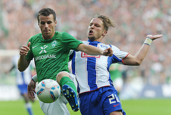 25.09.2011, Weserstadion, Bremen, GER, 1.FBL, Werder Bremen vs Hertha BSC, im Bild Lukas Schmitz (Bremen #13), Patrick Ebert (Berlin #20)..// during the match Werder Bremen vs Hertha BSC on 2011/09/25, Weserstadion, Bremen, Germany..EXPA Pictures © 2011, PhotoCredit: EXPA/ nph/  Frisch       ****** out of GER / CRO  / BEL ******