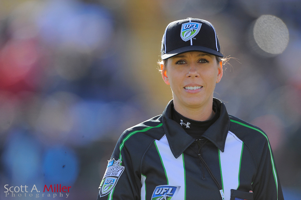 Female referee Sarah Thomas during the Florida Tuskers vs. Las Vegas Locomotives United Football League championship game at Rosenblatt Stadium on Nov. 27, 2010 in Omaha, Nebraska. Las Vegas won the game 23-20...©2010 Scott A. Miller