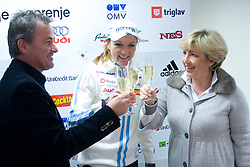 Primoz Ulaga, Petra Majdic and Bojana Hrovatic  at press conference on the day of her birthday, after she came back from Dusseldorf, where she won the sprint race, on December 22, 2008, Ljubljana, Slovenia. (Photo by Vid Ponikvar / SportIda).