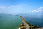 Nederland, Friesland, Kornwerderzand, 05-08-2014; Afsluitdijk gezien vanuit Friesland, richting  Noord-Holland. Links Waddenzee, rechts IJsselmeer, <br /> Enclosure Dam seen from the Frisian coast.  Left Waddenzee, IJsselmeer right.<br /> luchtfoto (toeslag op standaard tarieven);<br /> aerial photo (additional fee required);<br /> copyright foto/photo Siebe Swart.
