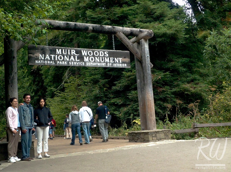 Tourists Posing for a Photo at Muir Woods Entrance, Muir Woods National Monument, California