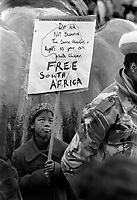 Largest Anti Apartheid and free Mandela Rally in Trafalgar Square Nov 1st 1985, at least 35,000 people took part