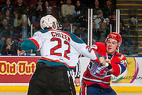 KELOWNA, CANADA - FEBRUARY 17: Braydyn Chizen #22 of the Kelowna Rockets drops the gloves with Riley McKay #27 of the Spokane Chiefs during second period on February 17, 2017 at Prospera Place in Kelowna, British Columbia, Canada.  (Photo by Marissa Baecker/Shoot the Breeze)  *** Local Caption ***