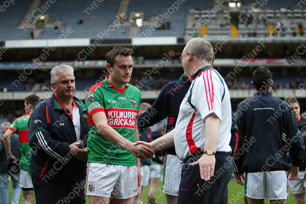 Peter O' Dwyer with Gerry McCarthy and Micheal McDermott after Kilmurry Ibrickane lost out to St. Galls during the Football All-Ireland Senior Club Championship final in Croke Park on St. Patrick's Day.<br /> Photograph by Yvonne Vaughan