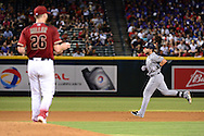 PHOENIX, AZ - JULY 06:  Ryan Schimpf #11 of the San Diego Padres runs the bases after hitting a two run home off Shelby Miller #26 of the Arizona Diamondbacks during the fourth inning at Chase Field on July 6, 2016 in Phoenix, Arizona.  (Photo by Jennifer Stewart/Getty Images)