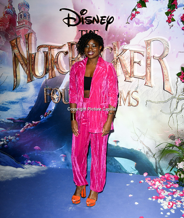 Clara Amfo attend The Nutcracker and the Four Realms - UK premiere at Vue Westfield, Westfield Shopping Centre, Ariel Way on 1st Nov 2018, London, UK.