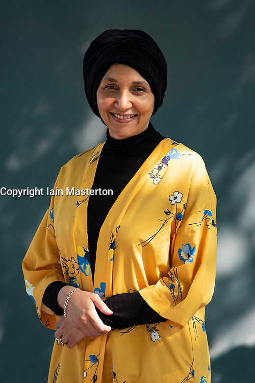 "Edinburgh, Scotland, UK; 15 August, 2018. Pictured; Author  Leila Aboulela. Her book "" Elsewhere, Home"", is a collection featuring men and women attempting to steer their course in a hostile world."