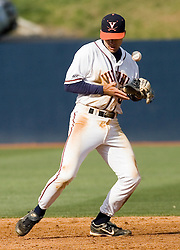 Virginia Cavaliers infielder Tyler Cannon (10) has trouble fielding a ground ball against Duke.  The Virginia Cavaliers Baseball team fell to the Duke Blue Devils 13-9 in the second of a three game series at Davenport Field in Charlottesville, VA on April 7, 2007.