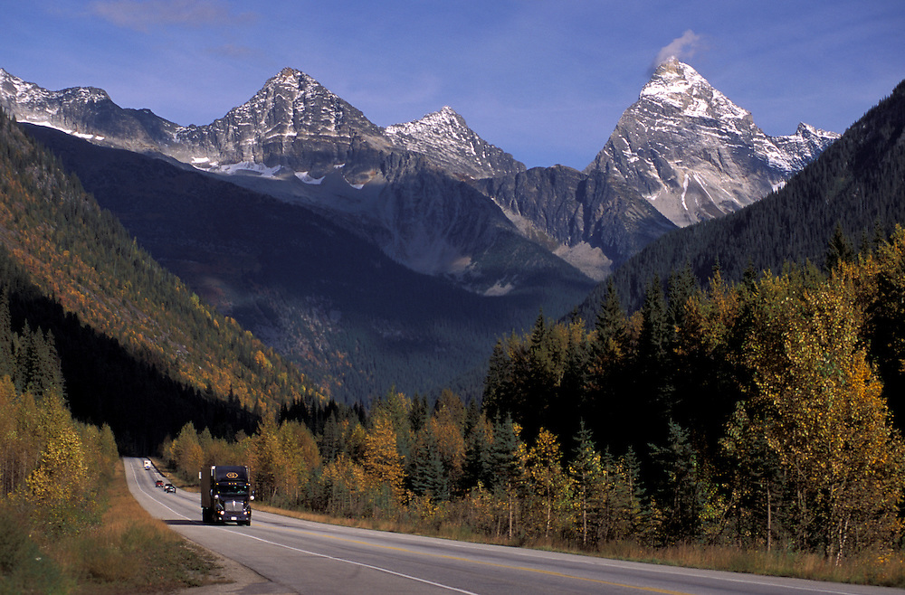Truck on Trans Canada Highway, Glacier National Park, British Columbia, Canada