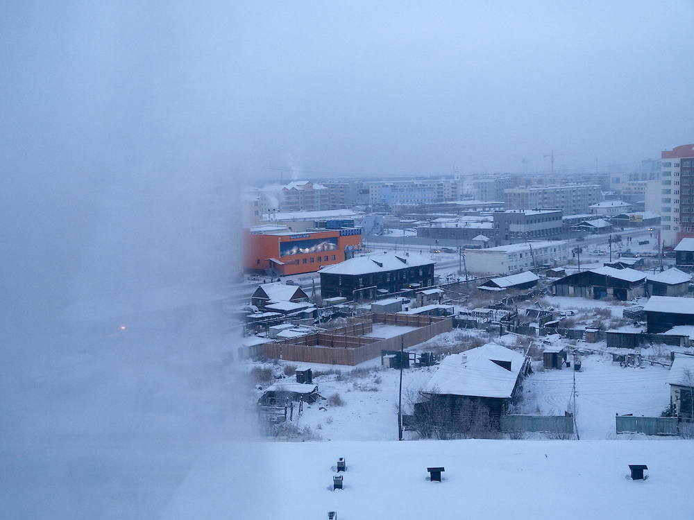 View from one of the Yakutsk State University buildings to the city center. Yakutsk is a city in the Russian Far East, located about 4 degrees (450 km) below the Arctic Circle. It is the capital of the Sakha (Yakutia) Republic (formerly the Yakut Autonomous Soviet Socialist Republic), Russia and a major port on the Lena River. Yakutsk is one of the coldest cities on earth, with winter temperatures averaging -40.9 degrees Celsius.