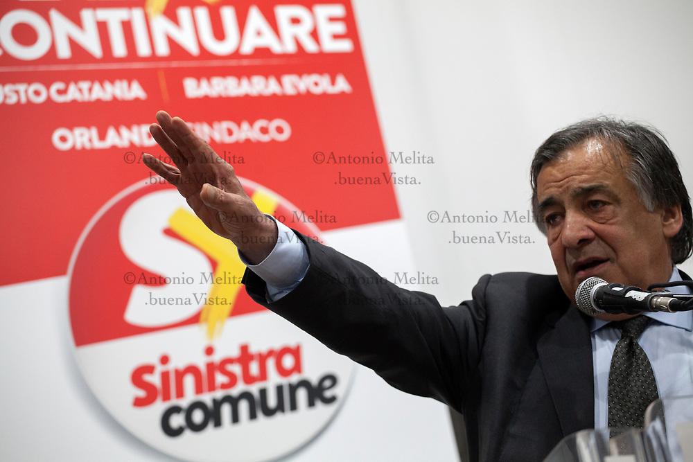 Leoluca Orlando, sindaco uscente di Palermo, durante la presentazione della candidatura degli assessori di Sinistra Comune.