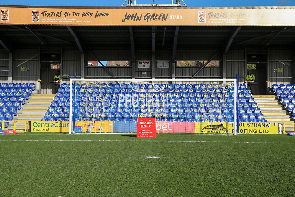 Goal and penalty spot in front of John Green stand during the EFL Sky Bet League 1 match between AFC Wimbledon and Peterborough United at the Cherry Red Records Stadium, Kingston, England on 18 January 2020.