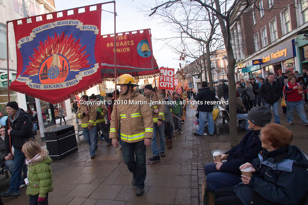 FBU March against proposed cuts in frontline services by Humberside Fire & Rescue Service. Kingston upon Hull 11/12/10...© Martin Jenkinson, tel 0114 258 6808 mobile 07831 189363 email martin@pressphotos.co.uk. Copyright Designs & Patents Act 1988, moral rights asserted credit required. No part of this photo to be stored, reproduced, manipulated or transmitted to third parties by any means without prior written permission.