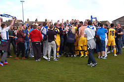Barrow Fans Invade the Pitch to Celebrate their win and Promotion on the Final Whistle to the Football Conference, Lowestoft Town  v Barrow, Conference North, Crown Meadow Lowestoft, Barrow win 2-3 and win the Vanarama Conference North Title,  Promoted to the Conference League Saturday 25th April 2015
