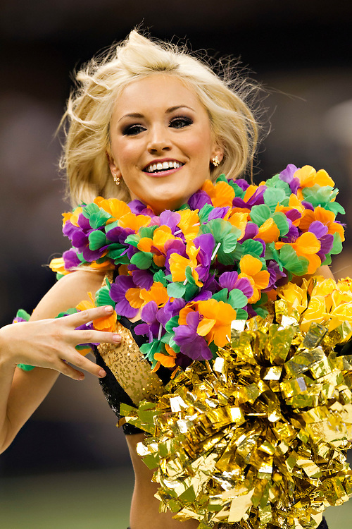 NEW ORLEANS, LA - DECEMBER 4:   Cheerleader of the New Orleans Saints perform during a game against the Detroit Lions at Mercedes-Benz Superdome on December 4, 2011 in New Orleans, Louisiana.  The Saints defeated the Lions 31-17.  (Photo by Wesley Hitt/Getty Images) *** Local Caption ***