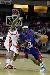 "02 December 2006: Rodrick Epps presses to get past Keith ""Boo"" Richardson. In a non-conference game, the Mavericks of University of Texas at Arlington lost to the Redbirds home 86-61. The win was the 5th in a row for the Redbirds, the longest winning streak in 6 years. the game was played at Redbird Arena in Normal Illinois on the campus of Illinois State University.<br />"