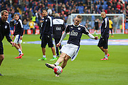 Leicester City forward Jamie Vardy (9) in the warm up before the Barclays Premier League match between Crystal Palace and Leicester City at Selhurst Park, London, England on 19 March 2016. Photo by Phil Duncan.