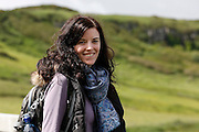 Allison on the trail leading up to the Carrick-a-Rede Rope Bridge in Ballintoy, County Antrim, Northern Ireland on Saturday, June 22nd 2013. (Photo by Brian Garfinkel)