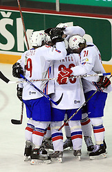 Team Norway celebrates a goal at play-off round quarterfinals ice-hockey game Norway vs Canada at IIHF WC 2008 in Halifax,  on May 14, 2008 in Metro Center, Halifax, Nova Scotia,Canada. (Photo by Vid Ponikvar / Sportal Images)