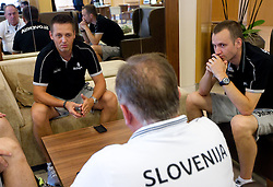 Aleksander Sekulic (L) and Gasper Potocnik (R), assistant coaches listen to the Bozidar Maljkovic during media day at training camp of Slovenian National Basketball team for Eurobasket Lithuania 2011, on July 19, 2011, in Arena Ljudski vrt, Ptuj, Slovenia.  (Photo by Vid Ponikvar / Sportida)