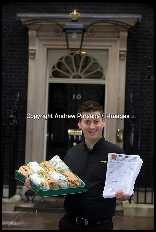 Subway Franchisees join subway owner David Cameron to deliver a petition to Downing Street from Subway, Tuesday January 22, 2013. Photo: Andrew Parsons / i-Images